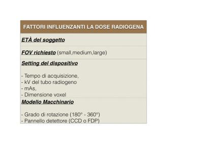 Tabella 2 - Schema riassuntivo dei fattori che influenzano la dose radiogena.