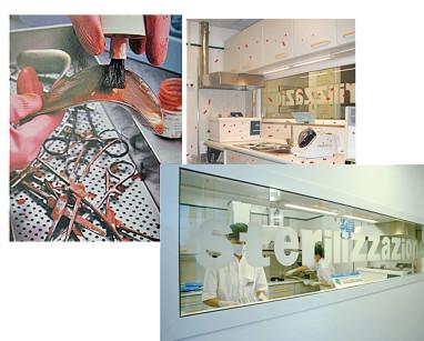 5. Il lavaggio manuale è da considerarsi una metodica superata, è rischioso per l'operatore ed è altamente contaminante per l'alta quantità di schizzi che si producono nella fase di spazzolamento: simulazione con apposito colorante.