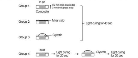 1. Illustrazione schematica del trattamento superficiale per i quattro gruppi sperimentali.