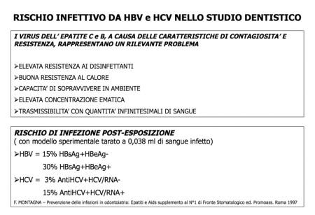 TABELLA 2 - RISCHIO INFETTIVO DA HBV E HCV NELLO STUDIO DENTISTICO
