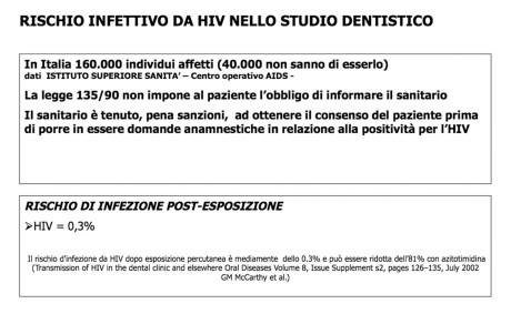 TABELLA 3 - RISCHIO INFETTIVO DA HIV NELLO STUDIO DENTISTICO